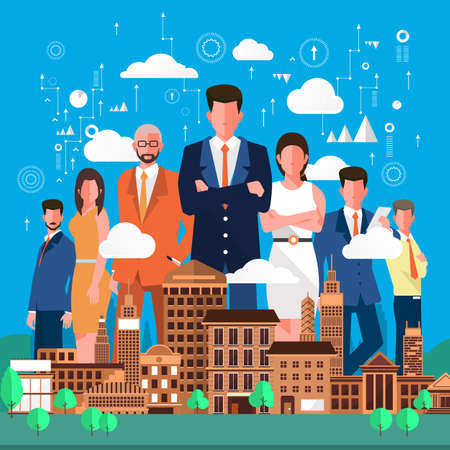 people discuss: Flat design concept business people discuss on city background
