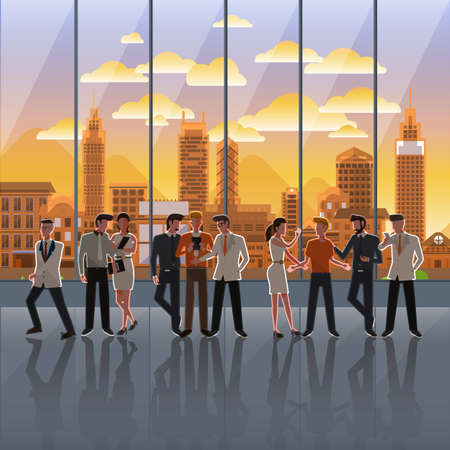 illustrate: Flat design concept business action on background window city sunset. Vector Illustrate.