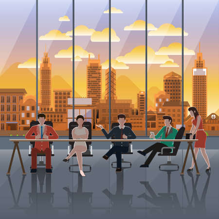 modern illustration: Flat design concept business action on background window city sunset. Vector Illustrate.