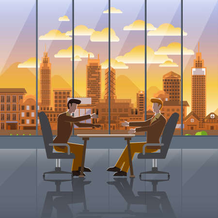 city landscape: Flat design concept business action on background window city sunset. Vector Illustrate.