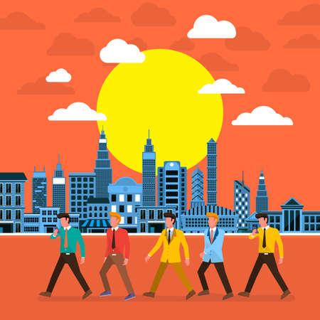 businessman walking: Flat design concept businessman walking on the city sun set. Vector Illustrate. Illustration
