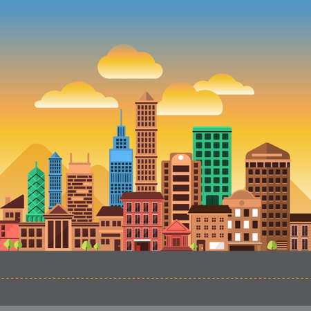 Flat design concept city landscape have sky, tree, road, and building.Vector illustrate. 向量圖像