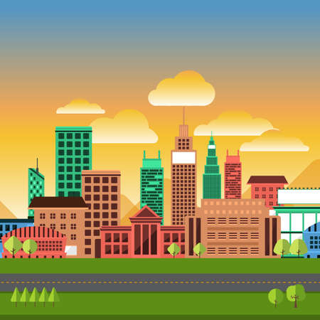city view: Flat design concept city landscape have sky, tree, road, and building.Vector illustrate. Illustration