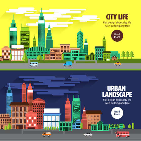 city road: Flat design concept city landscape have sky, tree, road, and building.Vector illustrate. Illustration