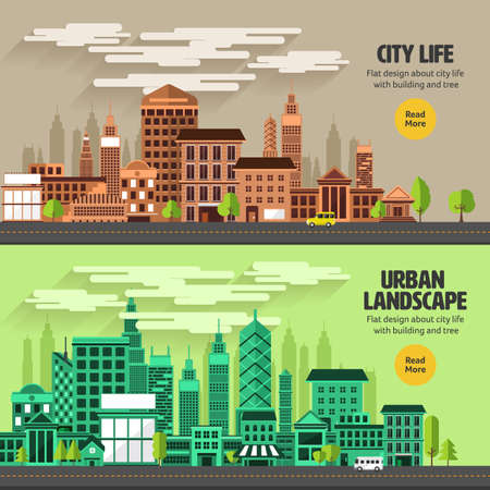 urban people: Flat design concept city landscape have sky, tree, road, and building.Vector illustrate. Illustration
