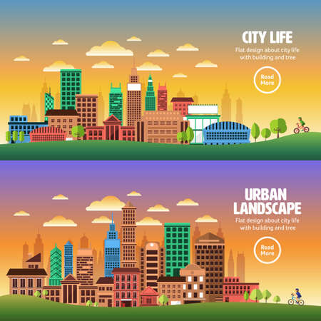 city landscape: Flat design concept city landscape have sky, tree, road, and building.Vector illustrate. Illustration