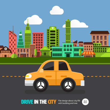illustrate: Flat design concept car on the road with city background.Vector illustrate.