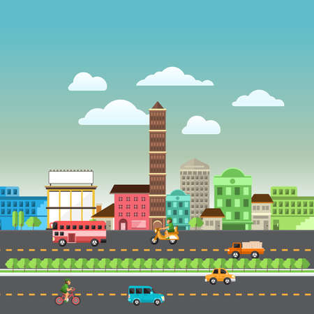 small town life: Set of buildings in the style of small business flat design. Roads and city far view.Vector Illustrate.