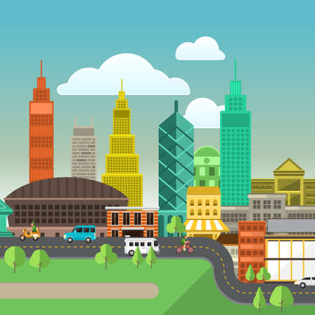 small business: Set of buildings in the style of small business flat design. Roads and city far view.Vector Illustrate.