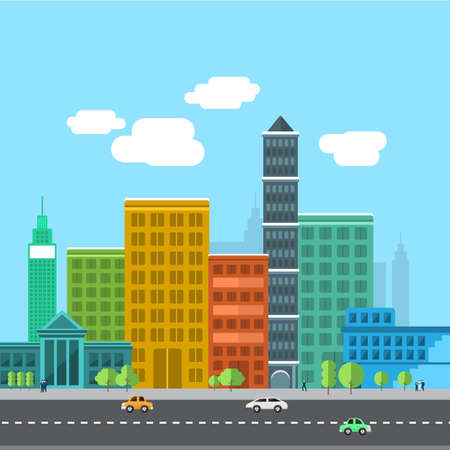 park icon: Set of buildings in the style of small business flat design. Roads and city far view.Vector Illustrate.