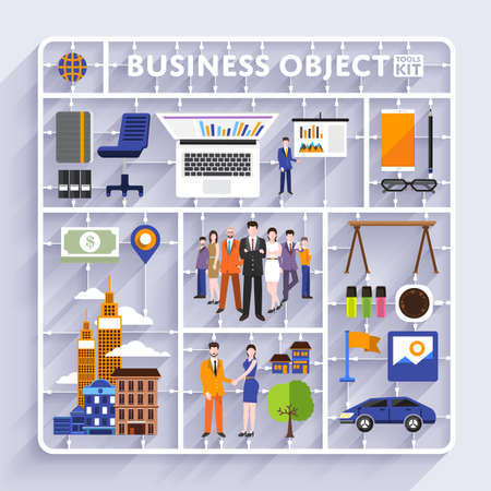 model kit: Plastic model kit for concept business and workplace city.Flat design vector illustrate. Illustration