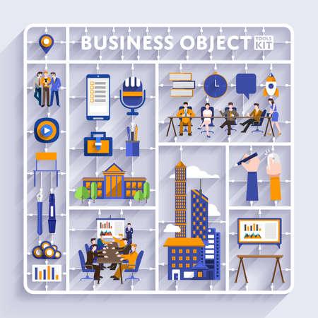 Plastic model kit voor concept zakelijke en werkplek city.Flat ontwerp vector illustreren. Stock Illustratie