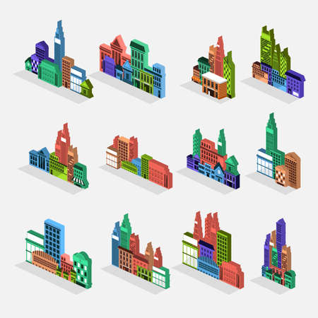 condominium: Isometric building icon set concept for use to city landscape condominium, house, tower. Vector flat design Illustration