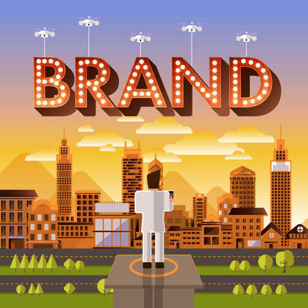 illustrate: Flat design vector concept businessman control drone for text Brand. Vector Illustrate. Illustration