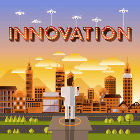 illustrate: Flat design vector concept businessman control drone for text Innovation. Vector Illustrate.