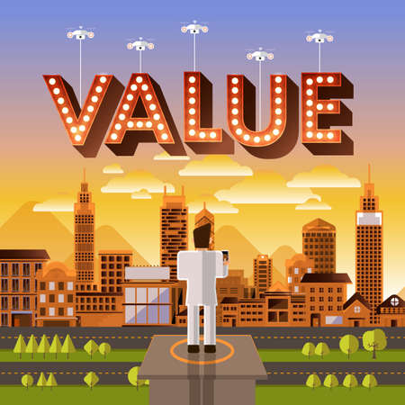"""valor: diseño del vector de aviones no tripulados de control concepto de negocios plana para el texto """"Valor"""". Ilustrar vector."""