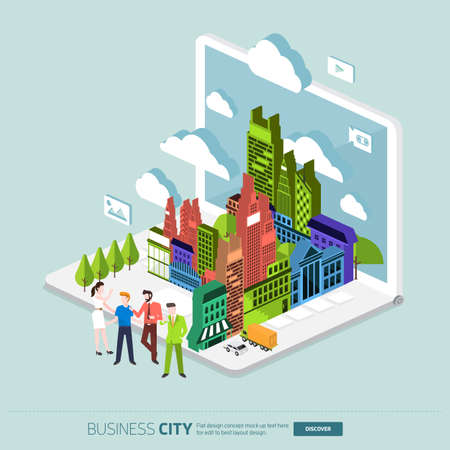 illustrate: Flat design concept the city and business people on the Laptop. Vector Illustrate Illustration