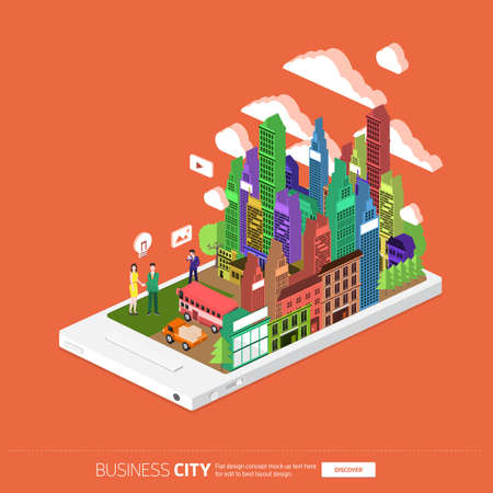 finder: Flat design concept the city and business people on the Mobile. Vector Illustrate