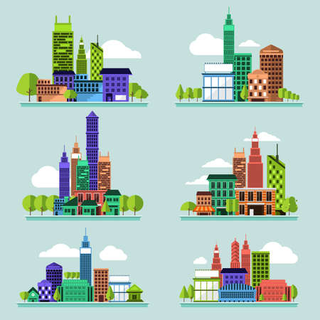 pawn shop: Building icon set concept for use to city landscape condominium, house, tower. Vector flat design