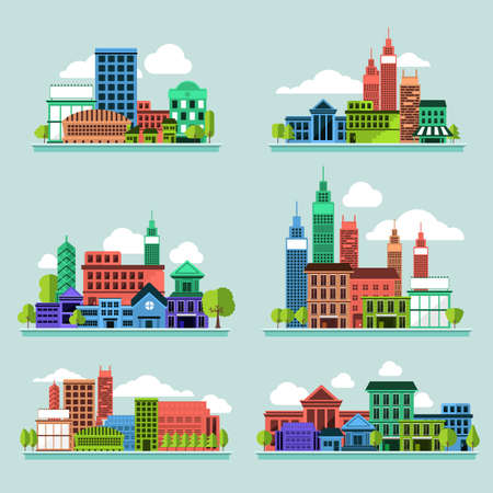old houses: Building icon set concept for use to city landscape condominium, house, tower. Vector flat design