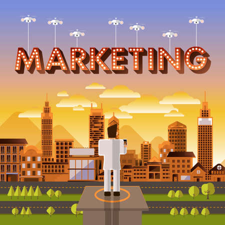marketing concept: Flat design vector concept businessman control drone for text Marketing. Vector Illustrate. Illustration