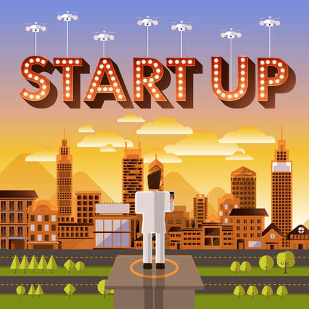illustrate: Flat design vector concept businessman control drone for text Start Up. Vector Illustrate.