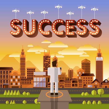 success control: Flat design vector concept businessman control drone for text Success. Vector Illustrate. Illustration