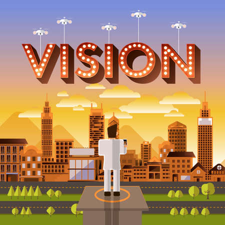 challange: Flat design vector concept businessman control drone for text Vision. Vector Illustrate.