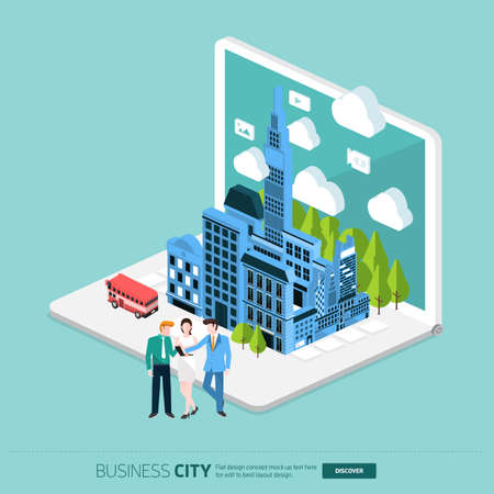 laptop vector: Flat design concept the city and business people on the Laptop. Vector Illustrate Illustration