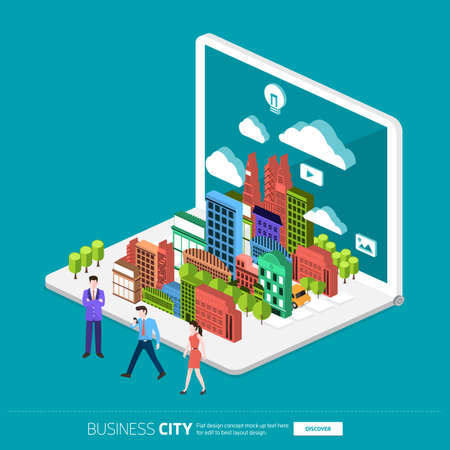 finder: Flat design concept the city and business people on the Laptop. Vector Illustrate Illustration