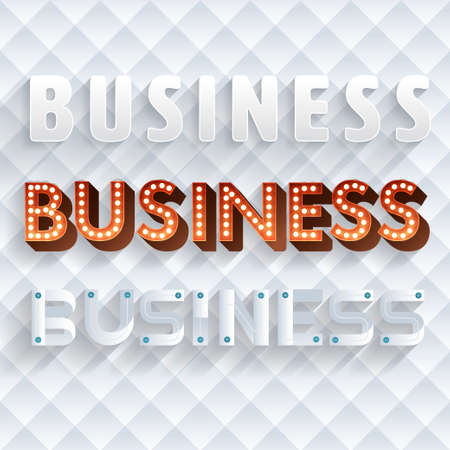 illustrate: vector illustrate text BUSINESS 3 type for headline design layout.