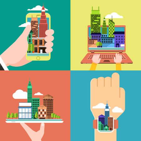 장치 스마트 폰, 노트북, 태블릿, 스마트 시계 평면 설계 개념의 도시입니다.