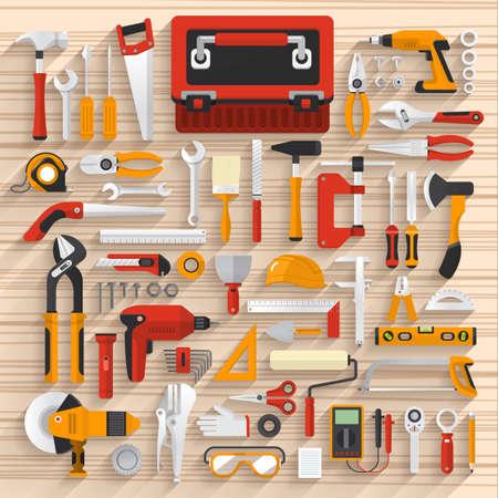 hardware: Piso concepto de diseño de la caja de herramientas de trabajo mano set.Vector ilustrar.
