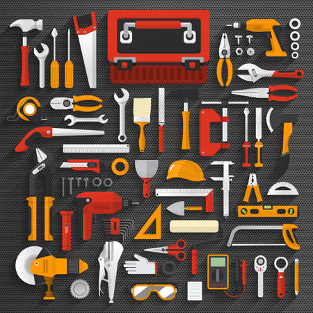 illustrate: Flat design concept hand work tools box set.Vector illustrate.
