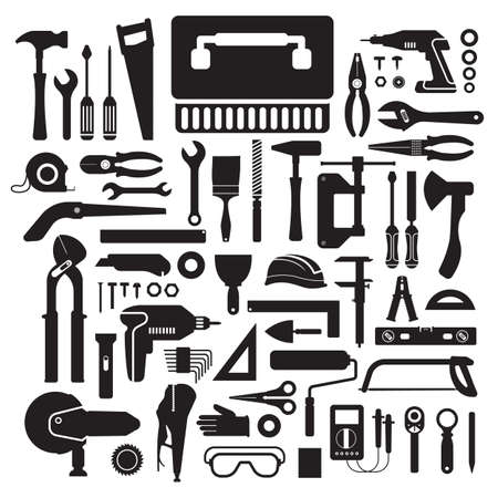 hardware: Flat design concept hand work tools box set.Vector illustrate.
