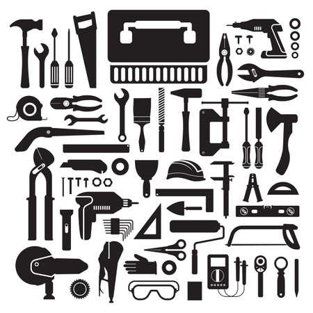 hardware: Piso concepto de dise�o de la caja de herramientas de trabajo mano set.Vector ilustrar.