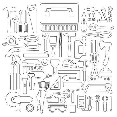 hand work: Flat design concept hand work tools box set.Vector illustrate.