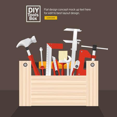 플랫 디자인 컨셉 손 작업 도구 상자 set.Vector는 설명한다.