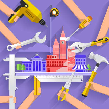 tool: Flat design concept construction building tower with tools. Vector illustrate. Illustration