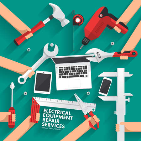 laptop repair: Flat design concept repair computer, mobile, tablet services. Vector illustrate
