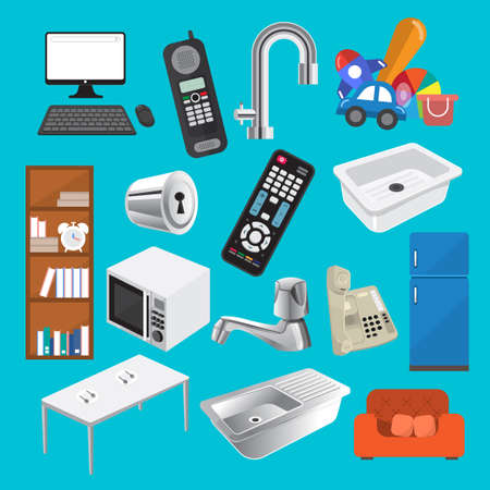 gas cooker: Flat design vector set equipment in home.
