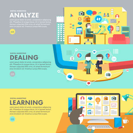 Flat design concept digital marketing analyze, dealing and learning. Vector illustrate.