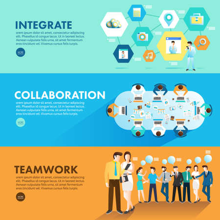 Flat design concept marketing integrate collaboration and teamwork for working together. Vector Illustrate Ilustração