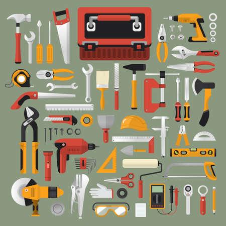 herramientas de trabajo: Piso concepto de diseño de la caja de herramientas de trabajo mano set.Vector ilustrar.