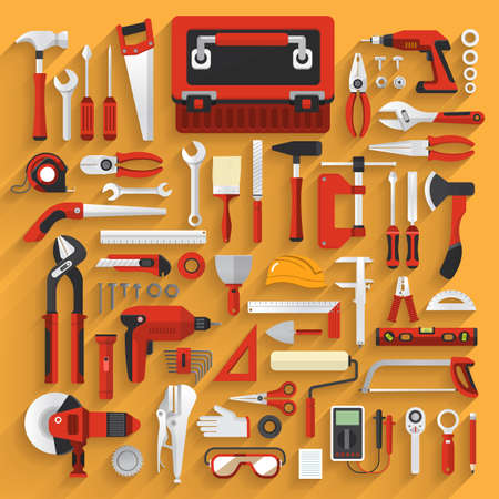 Mieszkanie koncepcja narzędzia pracy ręka pole set.Vector zilustrować. Ilustracje wektorowe