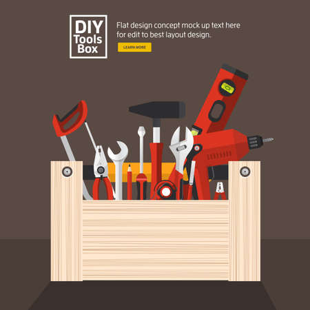 tools icon: Flat design concept hand work tools box set.Vector illustrate.
