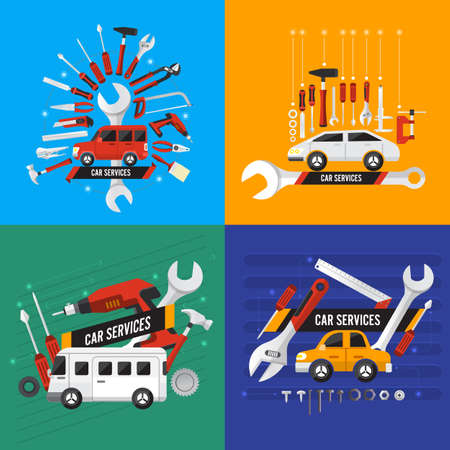 Flat design concept car services illustrate. Vector set. Illustration
