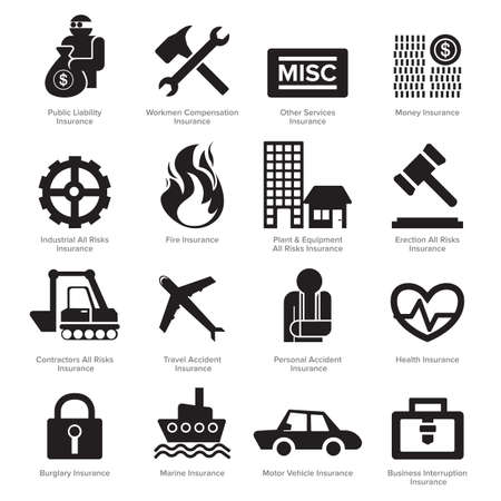 pensions: Insurance icons set vector. Flat design.