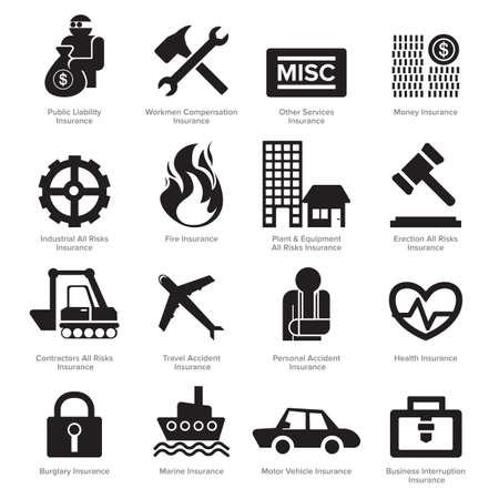 claim: Insurance icons set vector. Flat design.