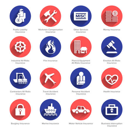 Insurance icons set vector. Flat design.